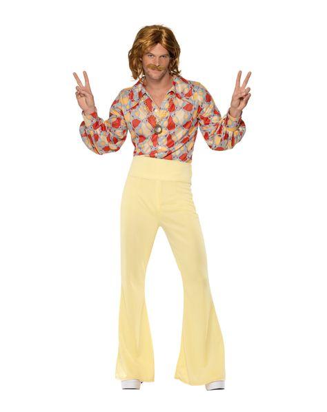 Mens Black Leisure Shirt 70s Costume Disco Hippie Adult Hippy Wide Lapel 60s NEW
