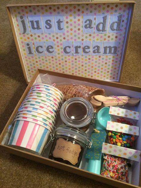 ice cream sundae in a box. My boys would LOVE this! #icecream #sundae #ingredients #giftbox #justaddicecream
