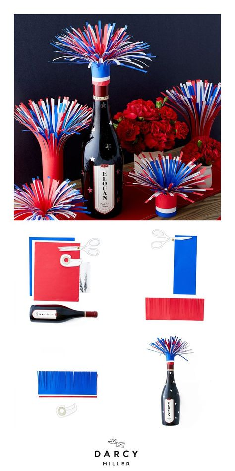 How-to #Firework #Wine #bottle #Topper # | #Darcy #Miller #Designs #Festive #wine #topper #for #a #summer #party # # fourthofjuly # #independenceday #redrede enblauwe # #decor #