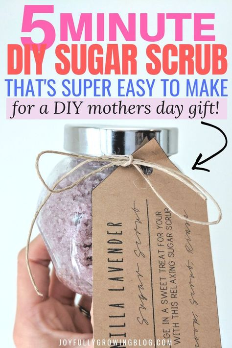This easy DIY sugar scrub is the perfect mother's day gift idea and it smells SO GOOD! I'm so glad I found this easy sugar scrub recipe for a unique mothers day gift! With a free printable label too! Now I have a great idea for a DIY mothers day gift this year! #joyfullygrowingblog #mothersdaygifts #giftideasformom #giftguideforher