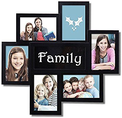Amazon Com Adeco 6 Openings Decorative Black Family Wall Hanging Collage Picture Photo Frame Made To Display Six 4x6 Photos 4 Vertical 3 Horizontal F