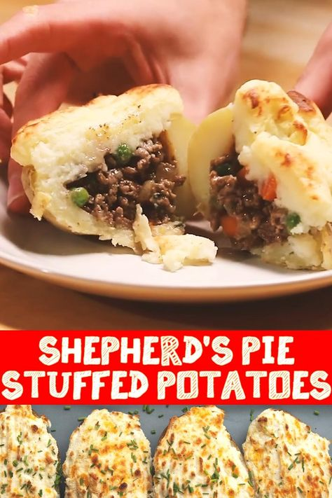 Baked potatoes and shepherd's pie. Two of the best Classics what's not to love about this! Thanks to Proper Tasty for the recipe! #carnivoreclub #shepherdspie #stuffedpotatoes #appetizers #recipe #simplerecipe #dinnerrecipe