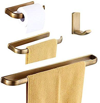 Wolibeer Antique Brass Finished 4pcs Bathroom Accessories Easy Installation Wall Mounted Econ Towel Rack Toilet Roll Holder Towel Holder Bathroom