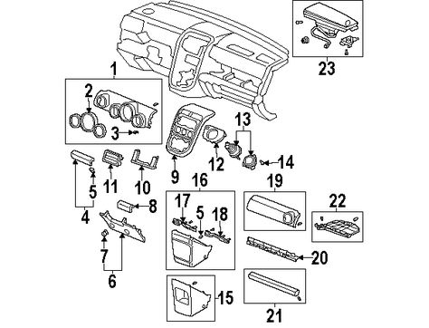 2007 Honda Element Ex Instrument Panel Components Diagram