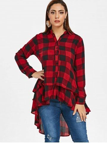 a278dff3eae Plus Size Tartan Flounce High Low Shirt - RED WINE - 5X ...