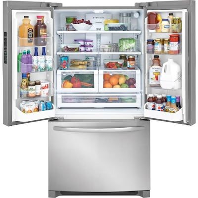 Frigidaire 27 6 Cu Ft French Door Refrigerator With Ice Maker Stainless Steel Energy Star Lowes Com French Door Refrigerator Counter Depth French Door Refrigerator French Doors