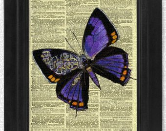 SteamPunk Purple Butterfly on Antique Dictionary Page, art print, Wall Decor, Wall Art Mixed Media Collage, Gift