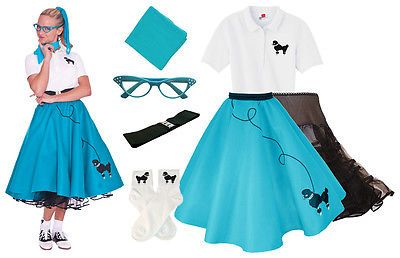 Hip Hop 50s Shop Womens 7 pc Poodle Skirt Halloween or Dance Costume Set