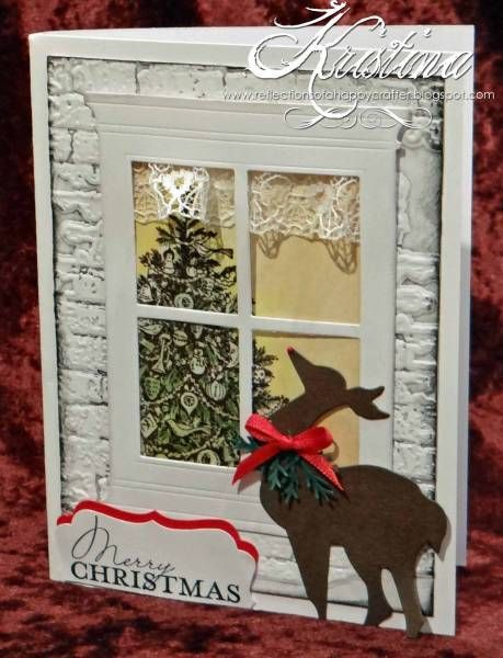Christmas Window Scene Card...with lace valance & stone embossing on the outside of the card.