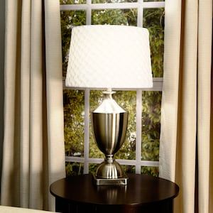 Allen Roth 10 In X 15 In Off White Fabric Drum Lamp Shade At