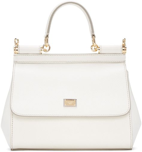 efa28291e5f DOLCE   GABBANA White Small Miss Sicily Bag.  dolcegabbana  bags  shoulder  bags  hand bags  leather  lining