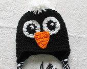 Crochet Penguin Hat with Tassels by KraftyShack on Etsy, $22.99 USD