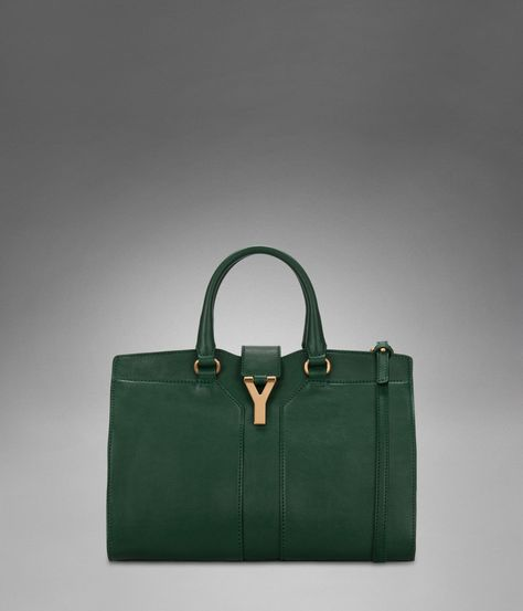 12807b9458f0 Yves Saint Laurent - Mini YSL Cabas Chyc with Strap in Dark Green Leather