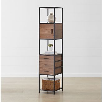 Knox Black Tall Narrow Storage Bookcase With Images Bookcase