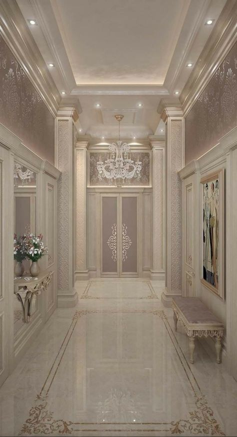 Home Discover Pretty master hall look in a more modern design. Mansion Interior, Luxury Homes Interior, Luxury Home Decor, Home Interior Design, Palace Interior, Luxury Bedroom Design, Flur Design, Home Design Living Room, Hallway Designs