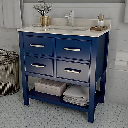 Home Decorators Collection Brookbank 30 Inch 2 Drawer Vanity In Navy Blue With White Engineered Marble T Home Decorators Collection Single Bathroom Vanity Home