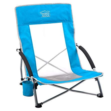 Timber Ridge Beach Chair Outdoor Portable With Carry Bag Low Sling Easy Folding Lightweight Cooler Mesh Back For Cam Outdoor Chairs Beach Chairs Camping Chairs