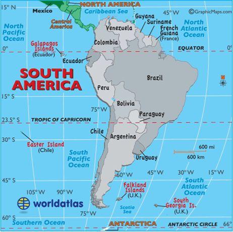 South America Map Around The World Pinterest South America - Argentina map equator
