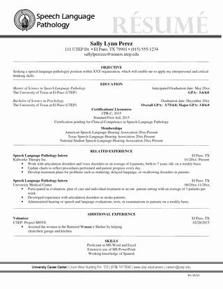 Pin Di Example Speech Language Pathologist Resume Sample