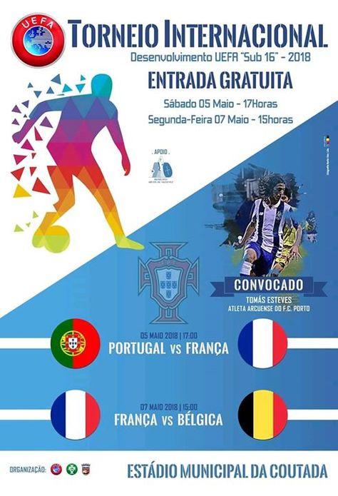 ENTRADA GRATUITA  No Estádio Municipal da Coutada às 17:00 com um arcuense e jogador do F. C. do Porto Tomás Esteves a titular: Portugal x França - facebook.com/ArcosdeValdevez -