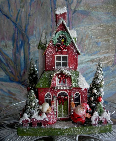 600 × 728 pixels - Christmas Home Decorations Christmas Village Houses, Putz Houses, Christmas Villages, Gingerbread Houses, Christmas Past, Christmas Projects, Vintage Christmas, Xmas, Theme Noel