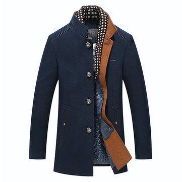 Mens Overcoat Winter Casual Thick Wool Coat Woolen Coats with Detachable Scarf Parka Peacoat