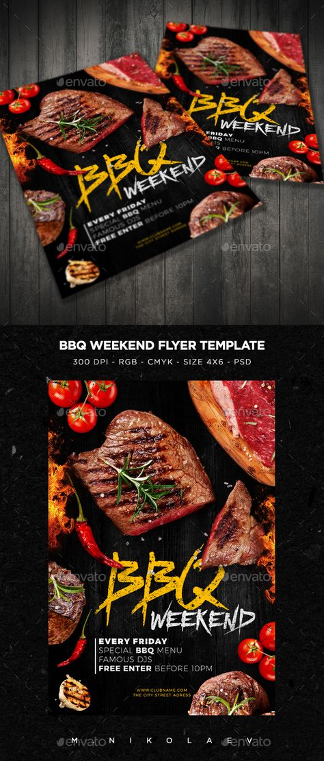 Weekend\/Sunday BBQ Flyer Flyer template, Party flyer and Serif - bbq flyer