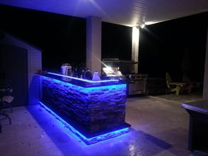 Outdoor Kitchens With Led Lighting 36 Photos Outdoor Kitchen Lighting Outdoor Kitchen Kitchen Led Lighting