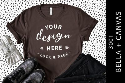 Download Brown Bella Canvas 3001 T Shirt Mockup Cool Fashion Flat Lay Psd Mockup Template Shirt Mockup Tshirt Mockup Design Mockup Free