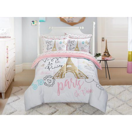 Mainstays Kids Paris Bed In A Bag Bedding W Reversible Comforter Walmart Com Paris Comforter Set Paris Room Decor Paris Themed Bedroom
