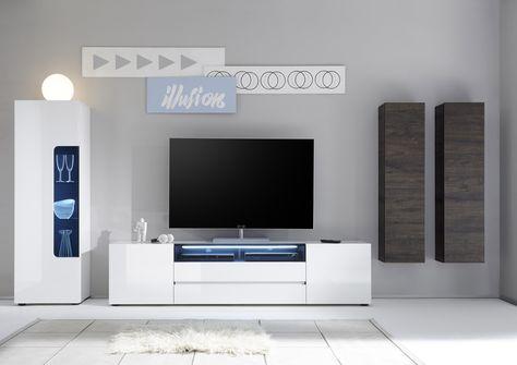 Wohnwand Weiss Hochglanz/ Wenge Woody 41 02622 Holz Modern Jetzt Bestellen  Unter: Https