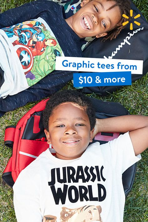Shop graphic tees from $10  more with free two-day delivery. Styles they love for school or school in the backyard. Ships in 2 business days. $35 min. Restr. apply.