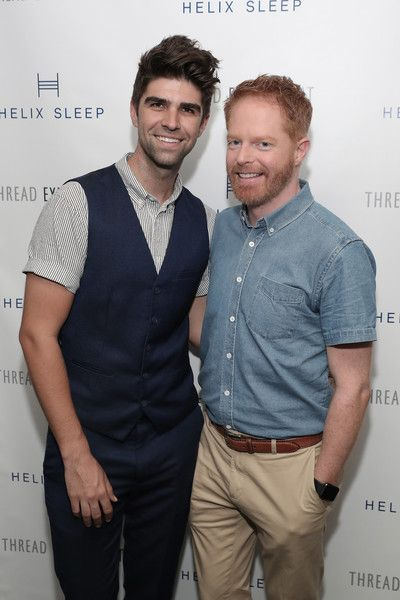 """Actor Jesse Tyler Ferguson (R) and husband Justin Mikita attend the """"Let's Get Under The Covers: An Evening Of Cocktails And Change"""" event at Hotel Americano on June 27, 2016 in New York City."""