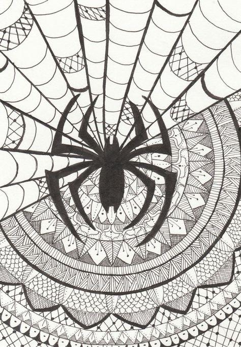 Spiderman Mandala Black And White Print Mandala Art Lesson Mandala Art Marvel Fan Art
