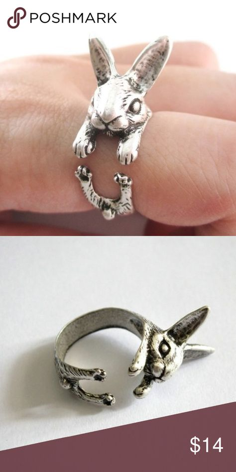 🆕🎁 Bunny Rabbit Ring Antiqued silver bunny rabbit ring is adjustable. Can fit on the thumb or any finger. Great detail from fluffy tail to the ears. In new condition.  NWT  Boutique item  2 available. Jewelry Rings