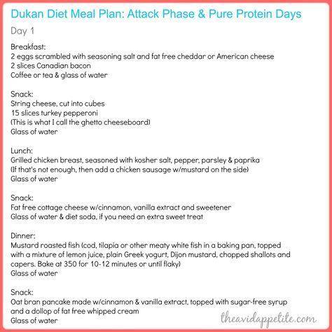 dukan diet attack phase menu plan