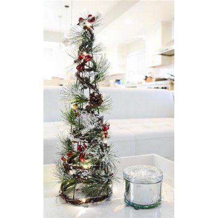 Admired By Nature Abn4x004 Grnsnow 21 In Christmas Wire Cone Tree With Led Lights In Green Snow Walmart Com Cone Trees Fun Christmas Decorations Storing Christmas Decorations