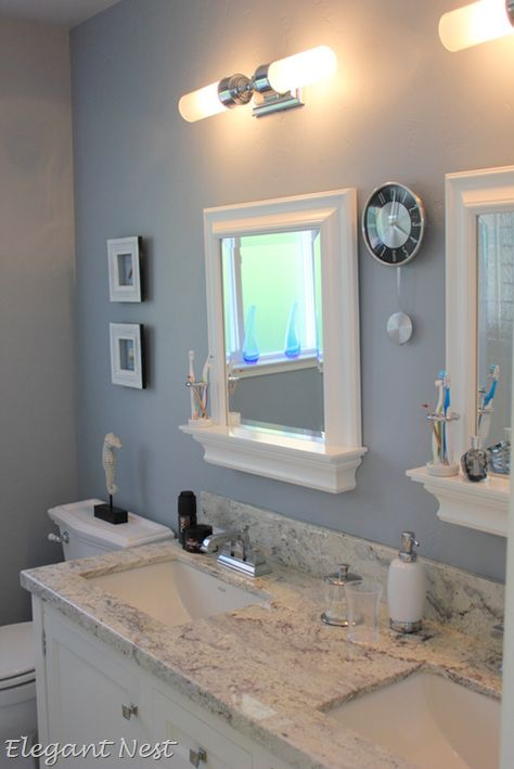 morning fog sherwin williams- love the mirrors with the ledges