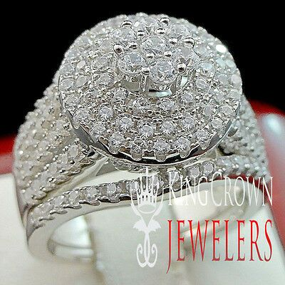 Details About Big Bold White Gold Sterling Silver Ladies 2 Piece