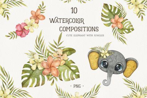 Jungle arrangements with cute elephant face (1346311) | Illustrations | Design Bundles
