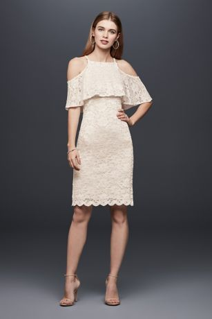 Short Two Tone Lace Dress With Ruffle Popover David S Bridal Plus Size Wedding Guest Dresses Casual Wedding Dress Dresses