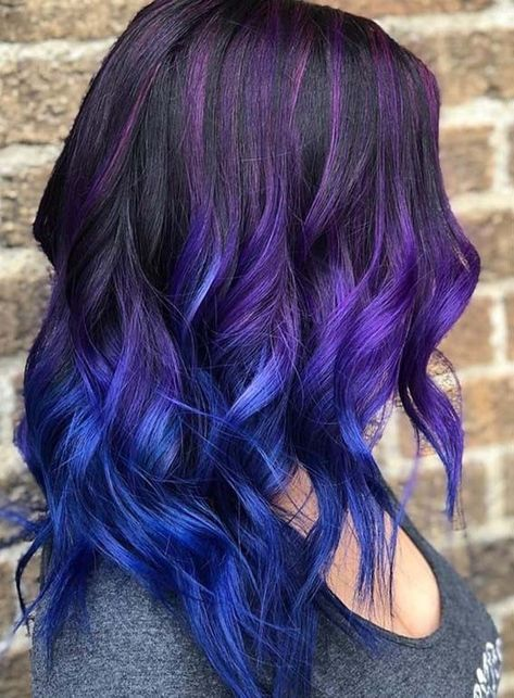 Super Hair Ombre Blue Purple Color Trends Ideas Colored Hair Tips Hair Inspiration Color Hair Styles