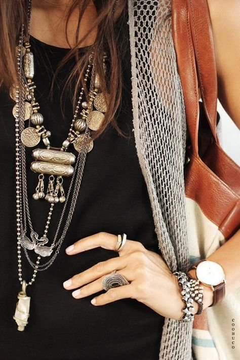 layered and stacked bohemian accessories