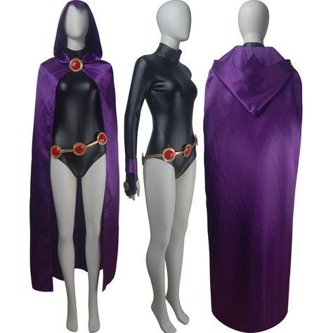 Raven Cosplay Costume Dress Hooded Cloak Halloween for Woman