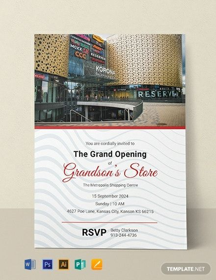 Store Opening Invitation Template Free Pdf Word Doc Psd Apple Mac Pages Illustrator Publisher Invitation Template Invitation Wording Grand Opening Invitations