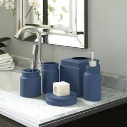Whalen 5 Piece Bathroom Accessory Set In 2020 Bathroom Accessories Sets Blue Bathroom Accessories Bathroom Accessories
