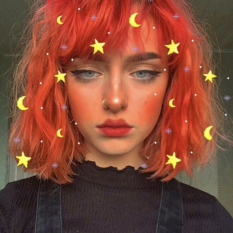 Free Shipping Harajuku Orange Short Curly Wig with Bangs
