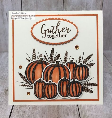 Another Gather Together Bundle card this time with the Pumpkins and Wheat images. Those pumpkins were just screaming at me to be used on a card. Fun Fold Cards, Cards Diy, Folded Cards, Paper Crafts Magazine, Fall Cards, Holiday Cards, Card Drawing, Square Card, Stamping Up Cards