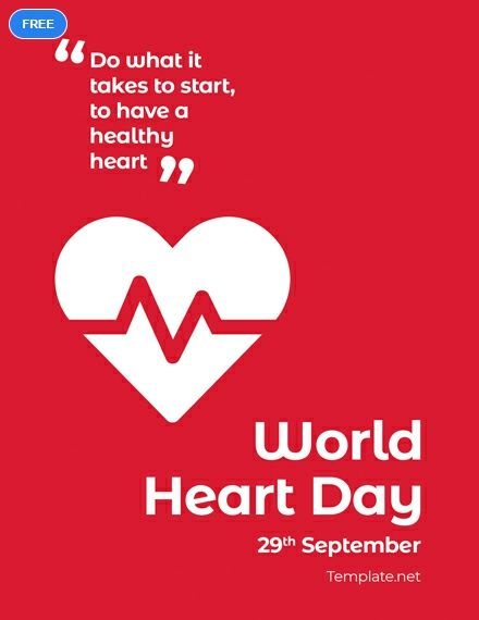 Free World Heart Day Greeting Card World Heart Day Hearts Day Quotes Heart Day