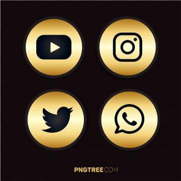 Luxury Golden Social Media Icons Pack In 2020 Social Media Icons